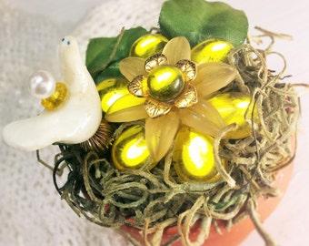 Handmade Office Gift Set Porcelain Dove Pin on Bright & Shiny Vintage Gem Blossom  Indoor Plant