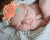Vintage lace wool felt flower halo headband - baby girl - newborn - headband - photography prop - you pick color - lavender - ivory -