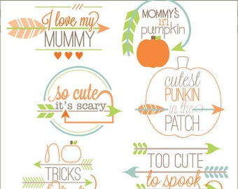 Halloween Clip Art Arrow Quotes -Personal and Limited Commercial Use- Halloween arrow sayings Clipart