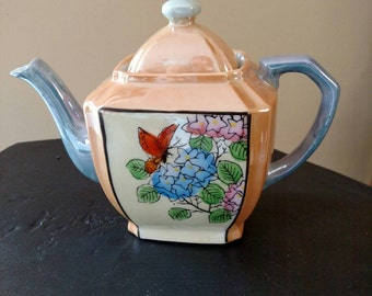 Japan Lusterware Teapot with Butterfly, Mint Condition