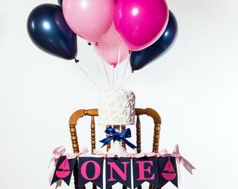 1st BIRTHDAY GIRL BANNER / Naitical Banner / Highchair banner / 1st birthday highchair banner. Smash cake banner. Baby girl 1st birthday