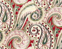 Red Teal Linen Paisley Upholstery Fabric by the Yard - Modern Paisley Curtains - Red Teal Home Decor - Paisley Throw Pillow Cover Material