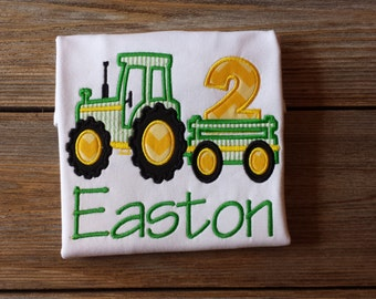 Tractor Pulling a 2 Birthday Applique Shirt