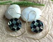 "Bohemian/Tribal Earrings, ""Mina"" Handcrafted, Paua Shell, Brass & Sterling, Boho-Chick"