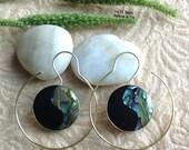 "Bohemian/Tribal Earrings, ""Alba"" Handcrafted, Paua Shell, Brass & Sterling, Boho-Chick"