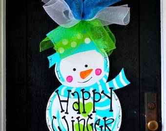 Door Hanger: Winter, Winter Snowman Door Hanger, Winter Door Decor