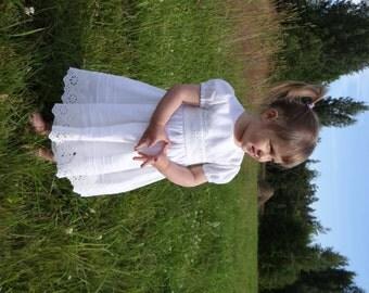 Baby girl baptism dress girl linen dress flower girl heirloom white gown baby girl special occasion blessing christening dress lace ivory