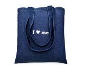 denim strong shopping bag   jeans shoulder bag i love shopping
