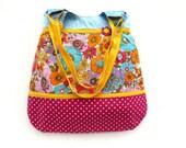 Purse cotton floral bag shoulder blue yellow purse floral tote