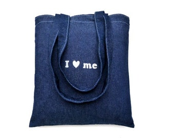 denim strong shopping bag   jeans shoulder bag i love shopping