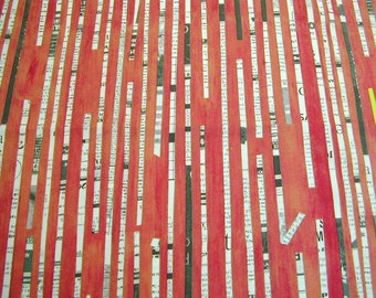 Modern print cotton in red, Collage by Carrie Bloomston, red cotton fabric