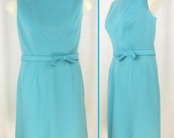 VTG 60s-70s Robin-egg Blue ~FRED ROTHCHILD~ Polyester Sleeveless Dress with Faux Bow Belt