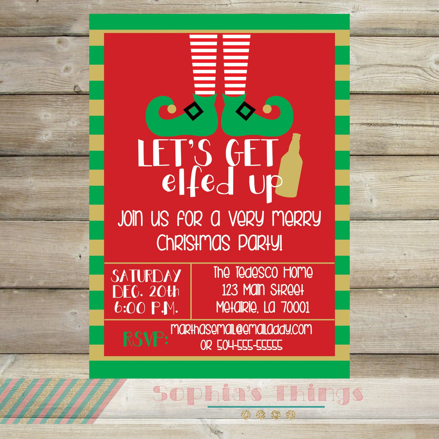 Lets Get Elfed Up Christmas Party Invitation Holiday – Funny Christmas Party Invitations