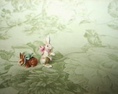 Ready to Send - Bunny with Bow ... Choose Standing or Sitting - Garden Brown Rabbit or French White - Dollhouse Miniature Art - Jill Dianne