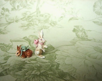 For Misti - Two Tiny Spring Bunny Rabbit - Standing and Sitting - French White or Garden Brown - Jill Dianne Dollhouse Miniature Art