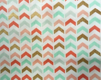 Cotton Fabric -  Metallic Gold coral mint chevrons Southwestern Print Fabric by the Yard - Quilt Fabric - Apparel Fabric - Home Decor Fabric