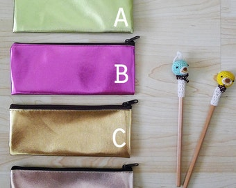 METALLIC GLITTER  zipper pencil case, pearly pouch, pencil bag,glasses case,wallet,rectangle shaped,waterproof, liquid look, gold,pink,green