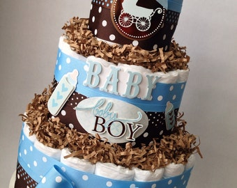 Blue and Brown Boy Diaper Cake for Baby Shower Decoration or New Baby Gift, Baby Boy Diaper Cake, Vintage Toy Baby Shower