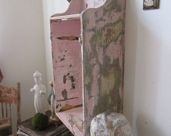 Pink distressed wood wall display showcase shabby cottage chic wooden niche cubbie perfect for large statue wall decor anita spero design