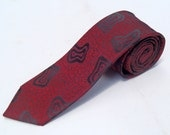 Vintage 1980s Skinny Red Tie with Atomic Bowties by Segio Valente