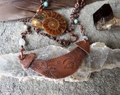 MoonChild - Copper Amulet Necklace - Etching, Handmade Chain, Copper, drawing, tribal, talisman, festival, wire wrapping, gypsy, goddess