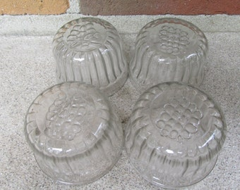 Antique Set of Jelly Jars with Grape Motiff