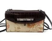 Vintage 90s Brighton Brown and Floral Organizer Shoulder Bag Messenger Purse
