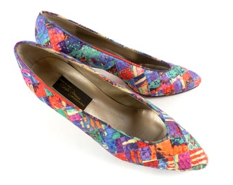 Vintage 80s Abstract Kitsch Sesto Meucci Silk multi colored Heels Pumps 8 M Narrow