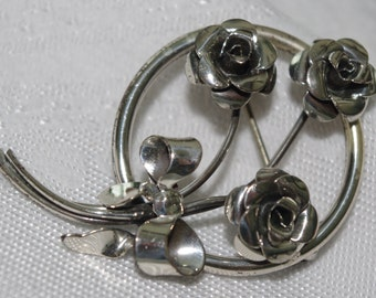 Vintage Sterling Silver Pin Brooch Mod Bow & Flower 1960s