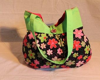 Black Neon Flower Bag
