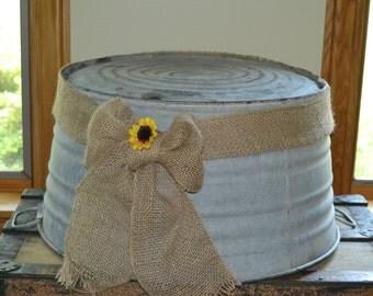 Round Galvanized  Bucket Wedding Cake Stand Farmhouse