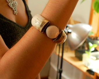 Vintage 60's Bone Bangle Clamper Bracelet