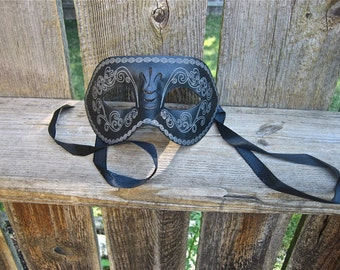 Black Embossed Leather Masquerade Mask