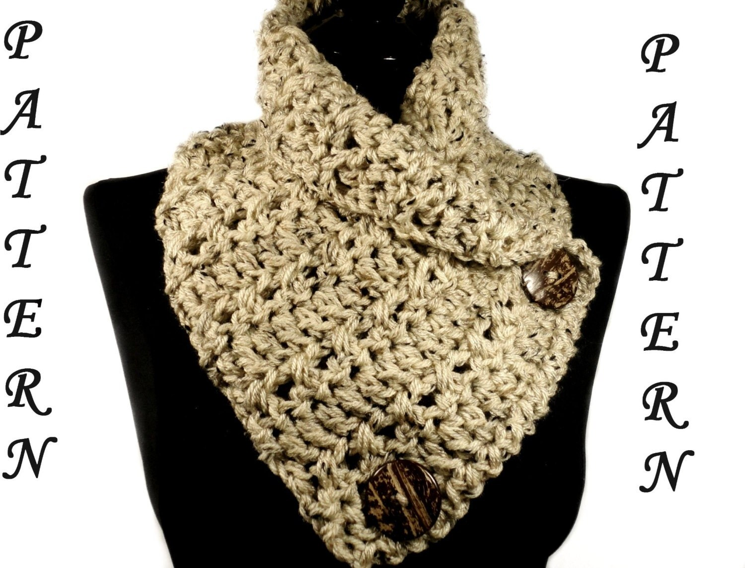 Crochet Pattern For Infinity Scarf With Buttons : Crochet Infinity Scarf Pattern Crochet Cowl Pattern Crochet