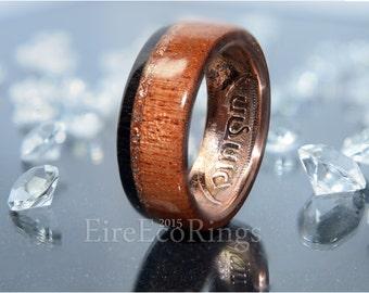 Mahogany wood ring with 5000 year old Irish bog Oak.
