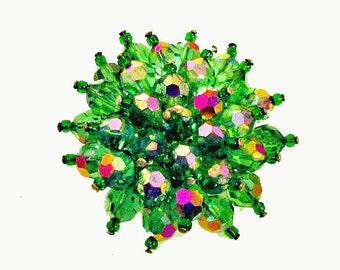 Green Crystal Brooch Cluster Bead mid century pin