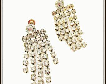 Rhinestone Chandelier earrings dangle silver tone  screw back Wedding BRide