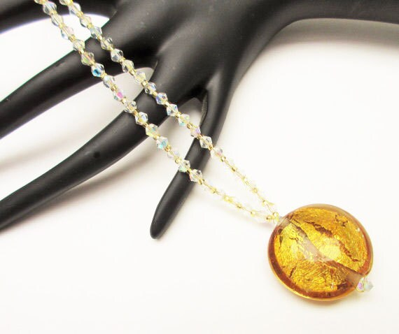 Murano Glass Bead Necklace with clear and amber color crystal glass beads