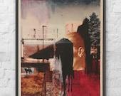Collage Painting on Wood by Award Winning Uk Artist / Photo Collage Art / Mono Print / Urban Wall Art