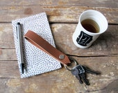 short lanyard sli leather keychain handmade light brown