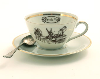 Alice in Wonderland Tea Party Cup Vintage Altered Tea Coffee Saucer Porcelain White Brown Romantic