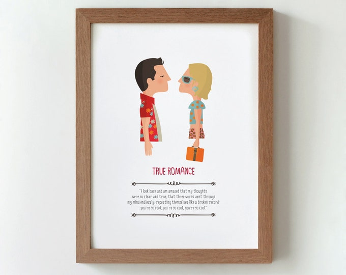 Illustration. True romance. Print. Wall art. Art decor. Hanging wall. Printed art. Decor home. Gift idea. Bedroom. Sweet home. Tony Scott.