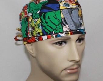 Comics,Men's Surgical Scrub Cap,Men's Chemo Cap, Biker's Cap