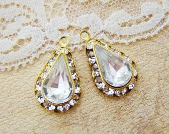 Vintage Swarovski Crystal Rhinestone Teardrop Earring Dangles Charms  Jewelry Findings 13x8mm - 2