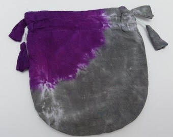 Drawstring Pouch - Hand-dyed Purple and Grey
