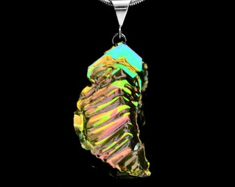 """Bismuth Necklace, """"Summer Stairs"""" Bismuth Crystal Jewelry, Sterling Silver Bail, Pendant on Leather or Snake Chain"""