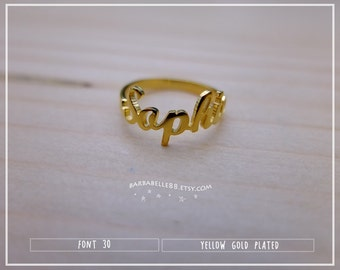 20% off // Font 30 // Personalized name ring - Any size - Yellow , White , Pink gold, Silver plated and Brass - Gift box included.Valentine.