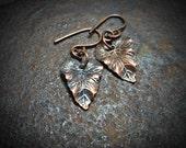 Copper Leaf Earrings Drops Small