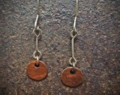 Sterling Silver and Copper Hammered Tiny Disc Earrings