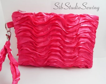 """Fuchsia Ruffles Smartphone Clutch, 9 x 6 inches, Fits iPhone 7 & 6 Plus, Smartphones and Tablets up to 7"""" Length, Padded, Interior Pockets"""
